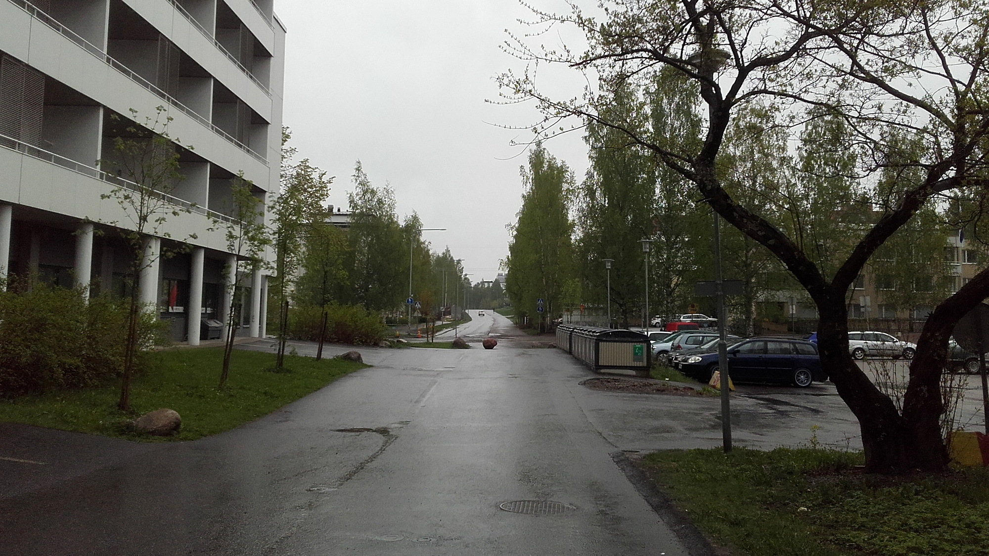Kortepohja student village of Jyväskylä on a rainy day.