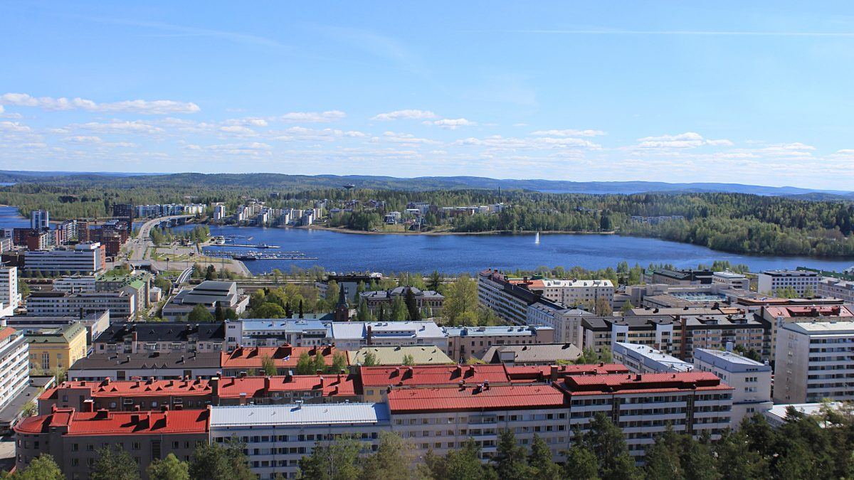 A view to the city center from the Vesilinna tower at the top of the ridge.