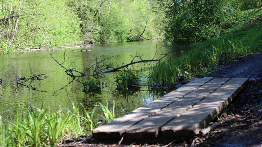 The walking trail of the river Tourujoki in Jyväskylä. / Tourujoen kävelyreitti Jyväskylässä.