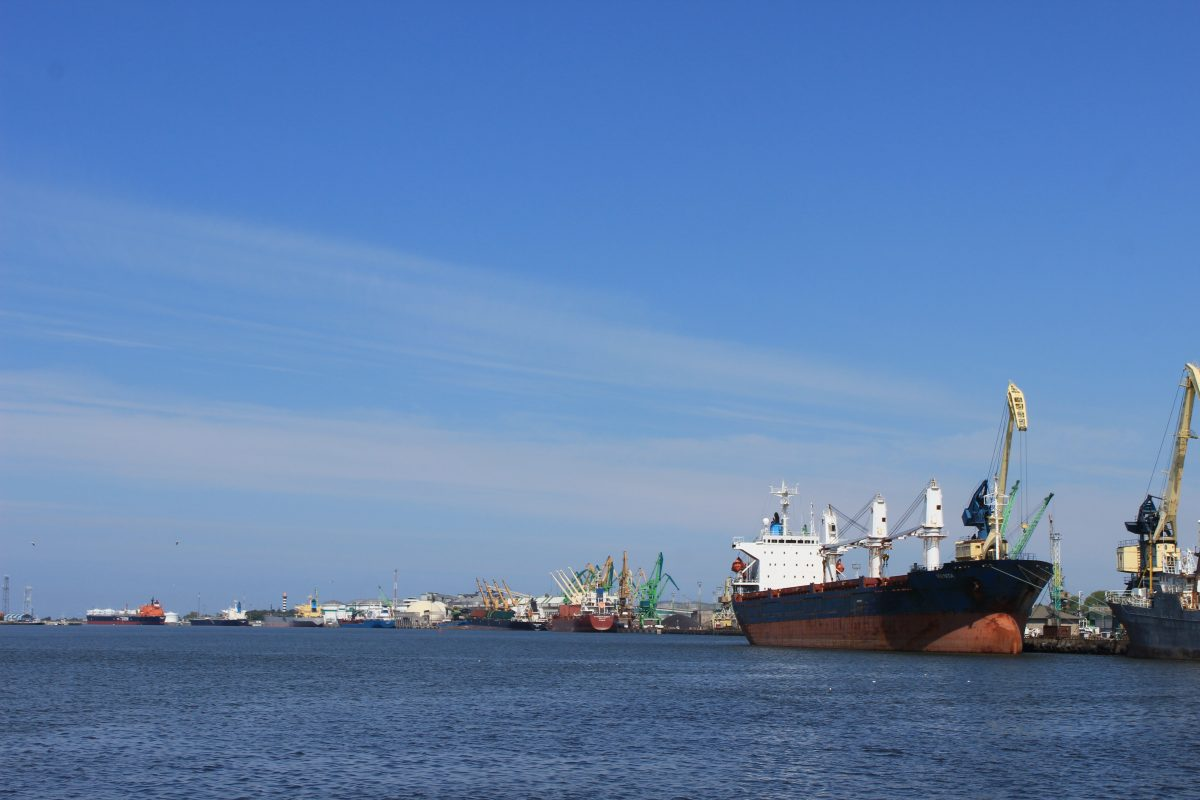 A cargo ship in the harbor of Klaipeda by the Baltic Sea.