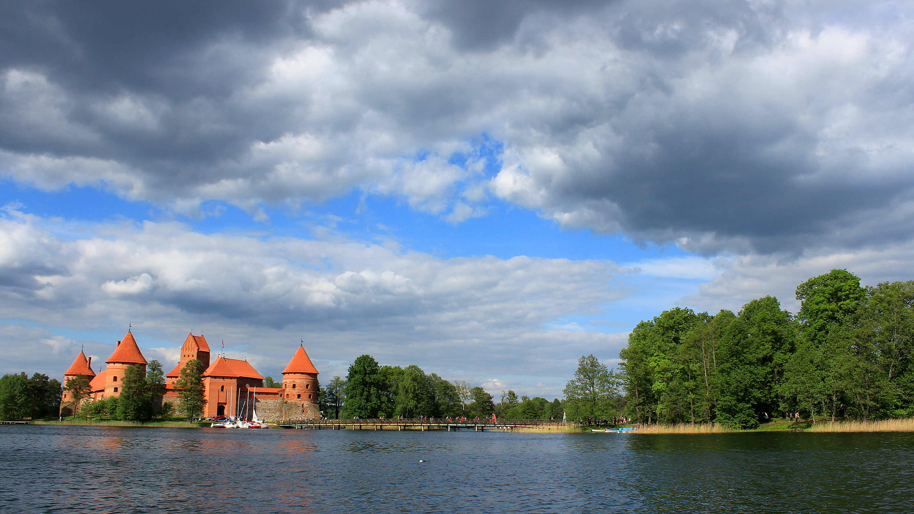 The historical Trakai Castle in Lithuania with a beautiful surrounding scenery.