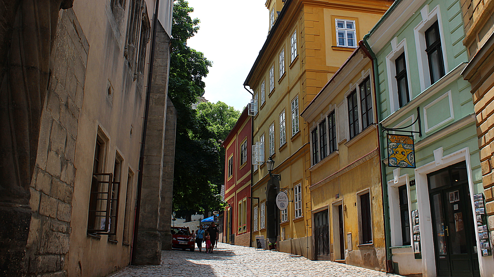 A stone paved street in Kutná Hora.