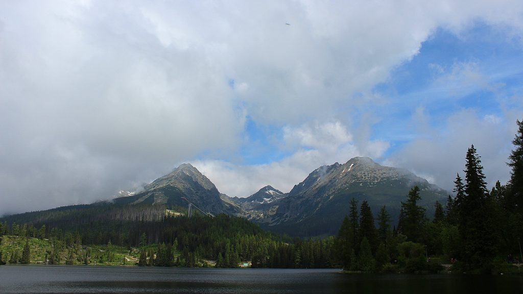 The High Tatras as seen from the Štrbské Pleso lake.