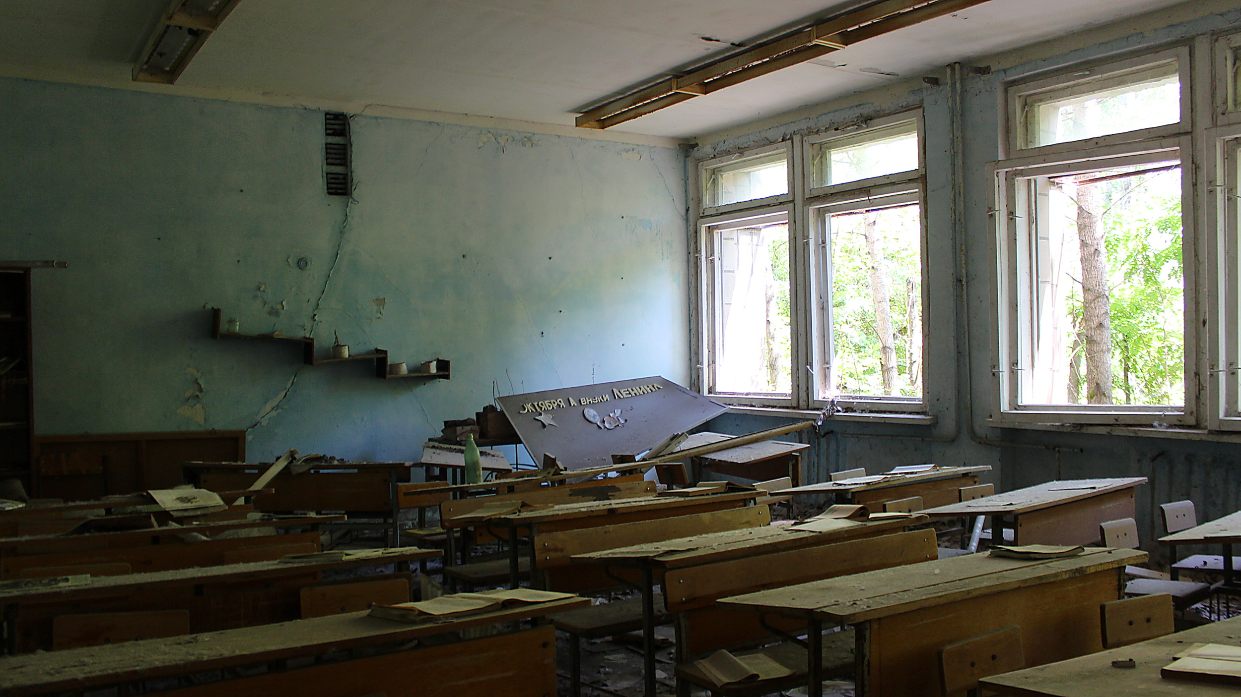 A deserted classroom in a school in Pripyat.