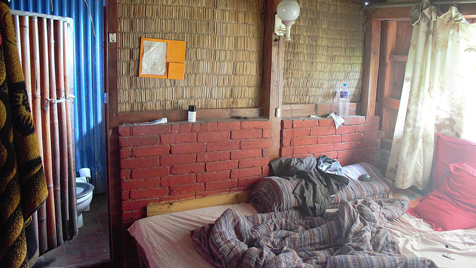 A tiny hotel cottage room in Hotel at the End of the Universe, Nagarkot, Nepal.