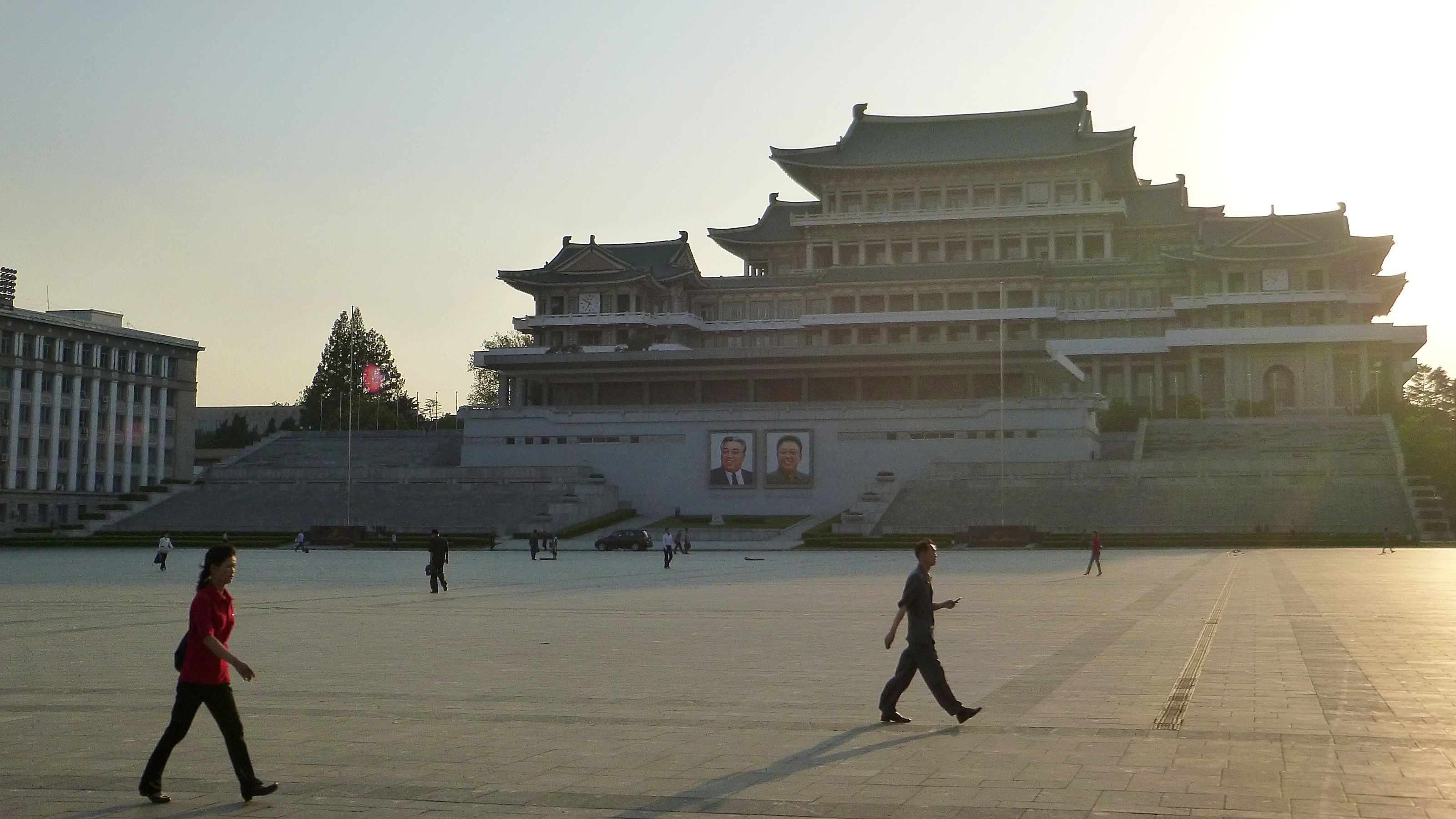 One of the important places in North Korea. Kim Il-sung Square in Pyongyang during sunset.