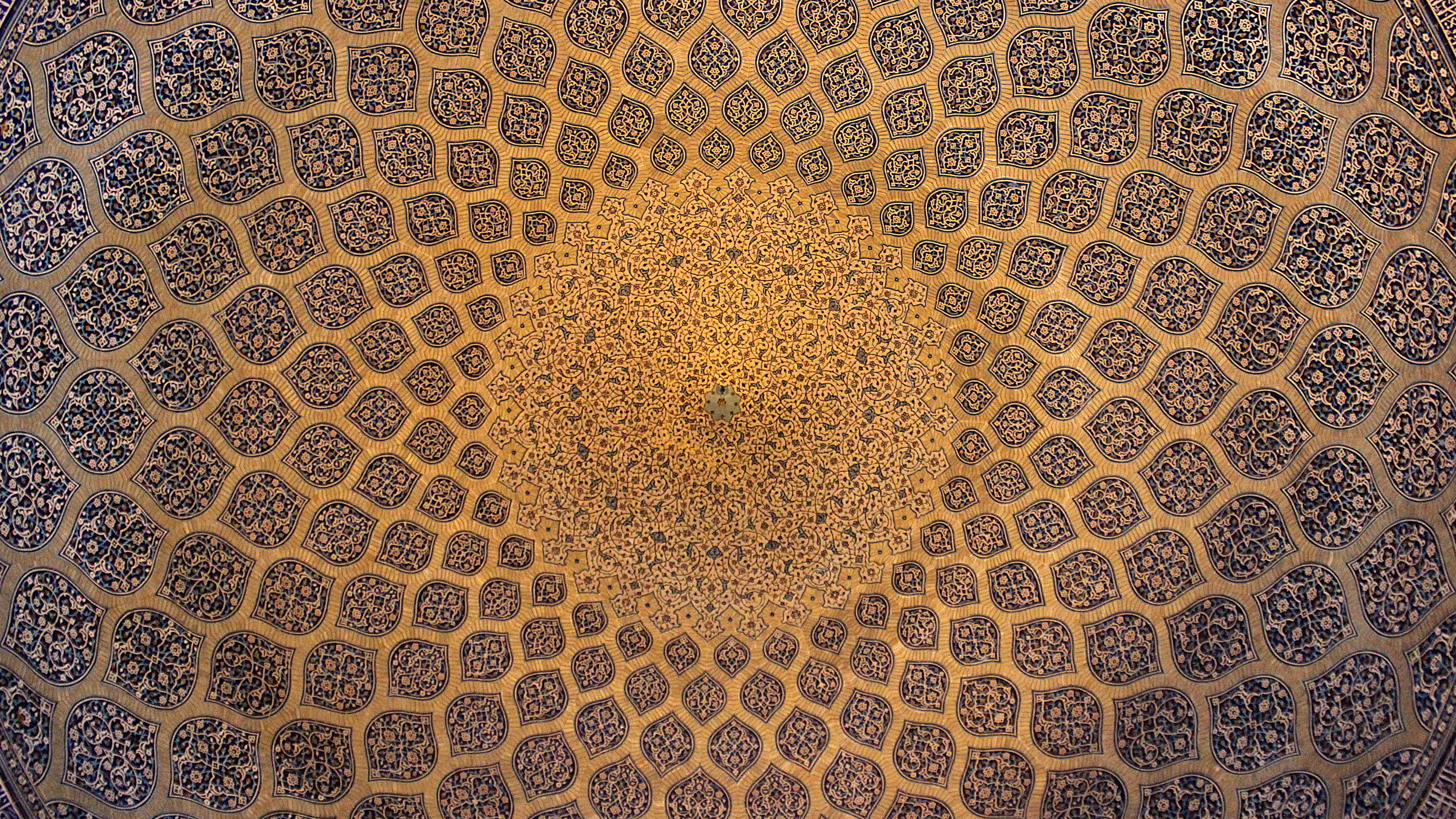 Doing a guided tour of Iran. The ceiling of Sheikh Lotfollah Mosque in Esfahan.
