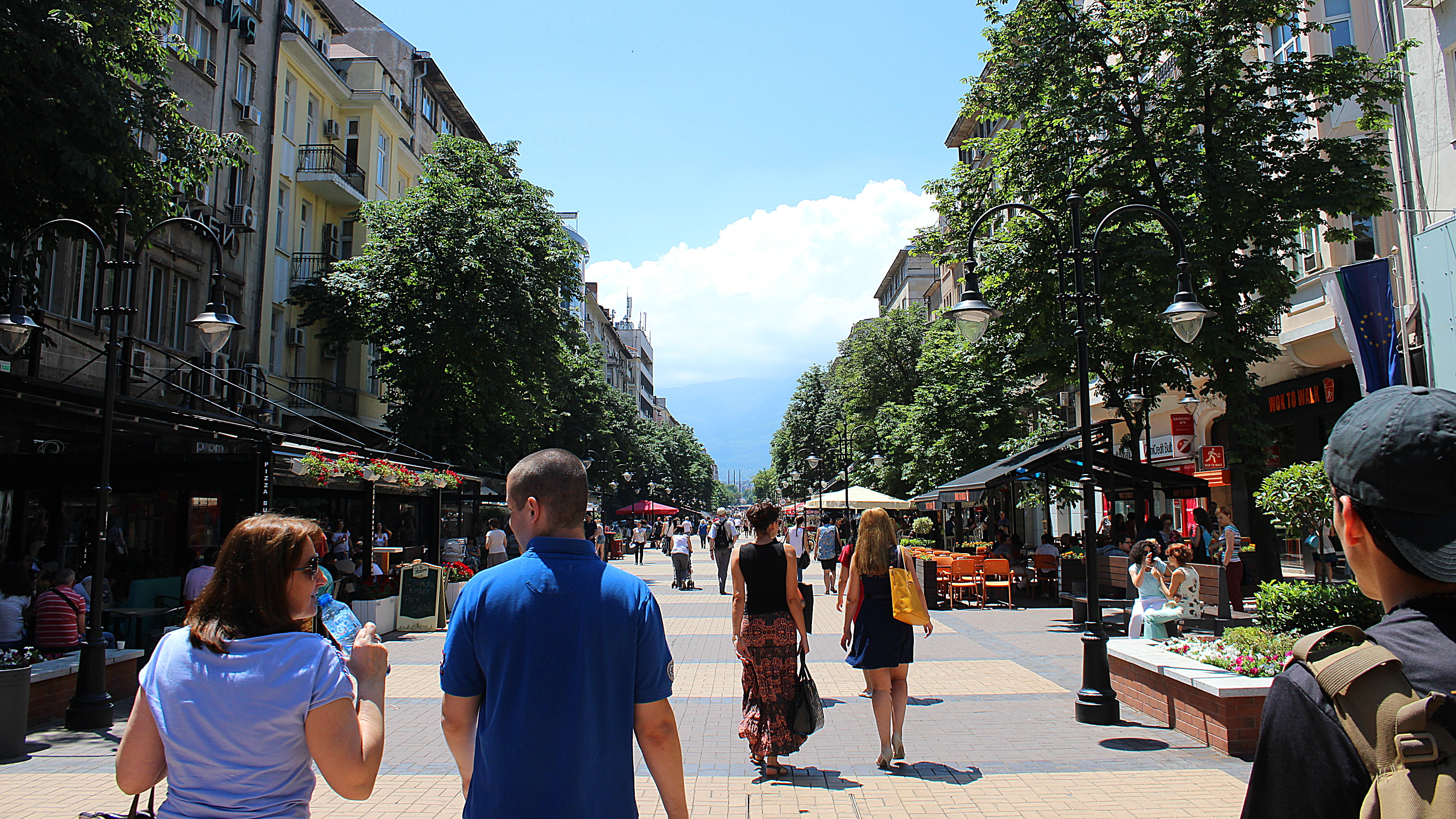 Walking boulevard in Sofia during the summer.