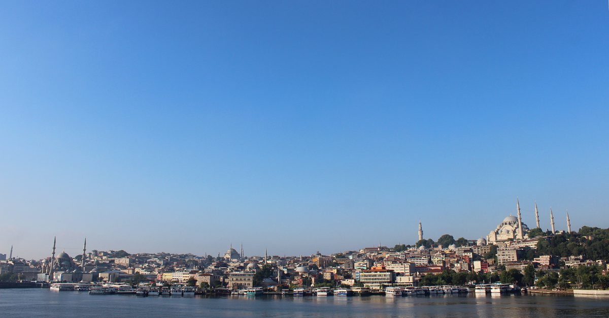 Sleepless in Istanbul. Panorama of the European side of Istanbul across the Golden Horn.