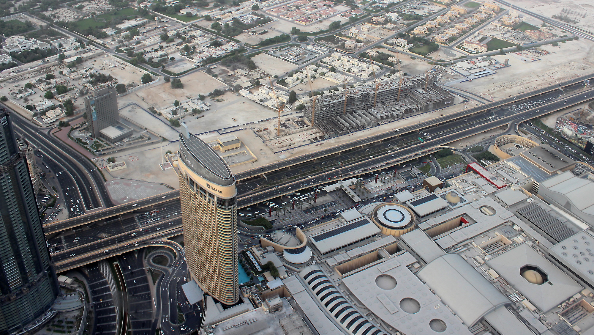 A view down from Burj Khalifa 124th floor observation deck in 2016.