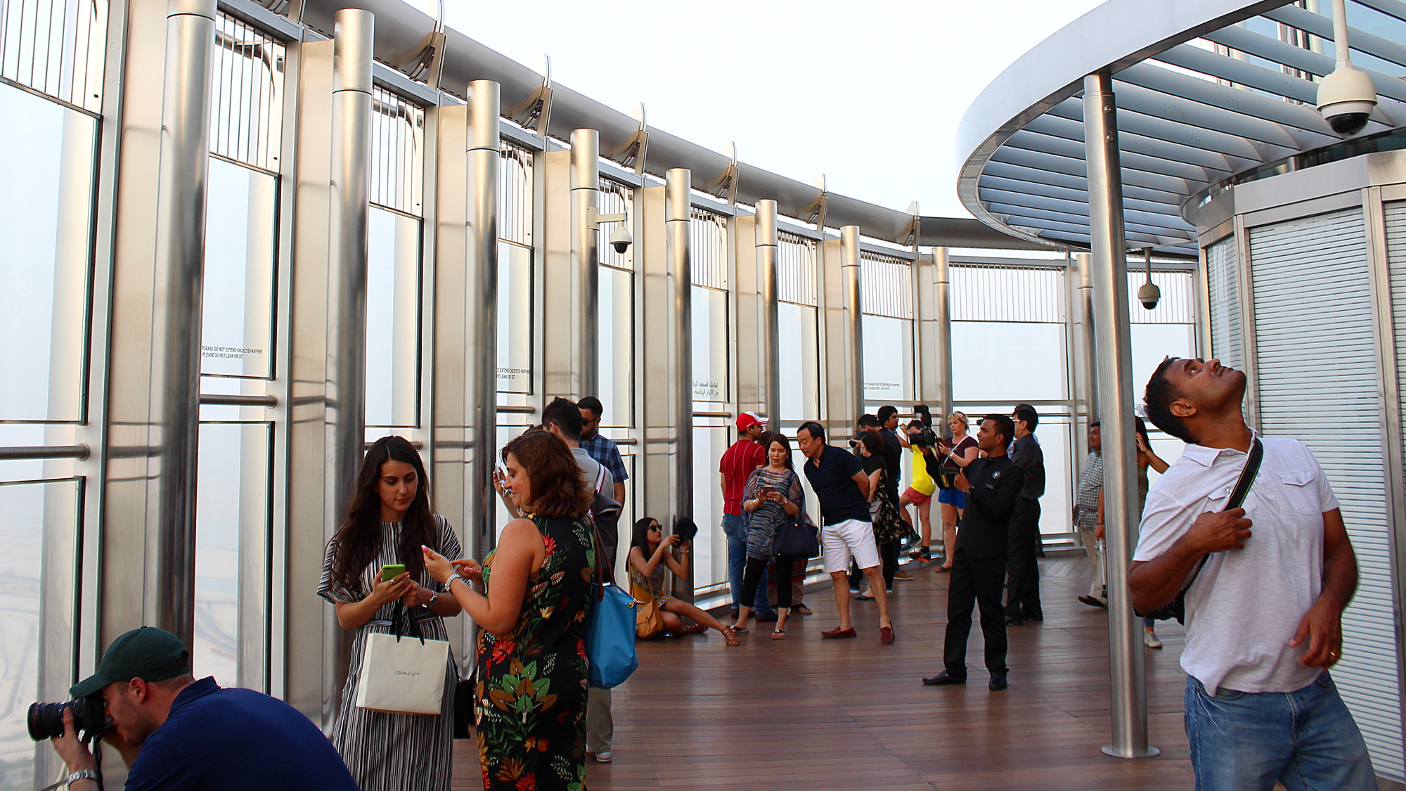 Outside at the Burj Khalifa observation deck.