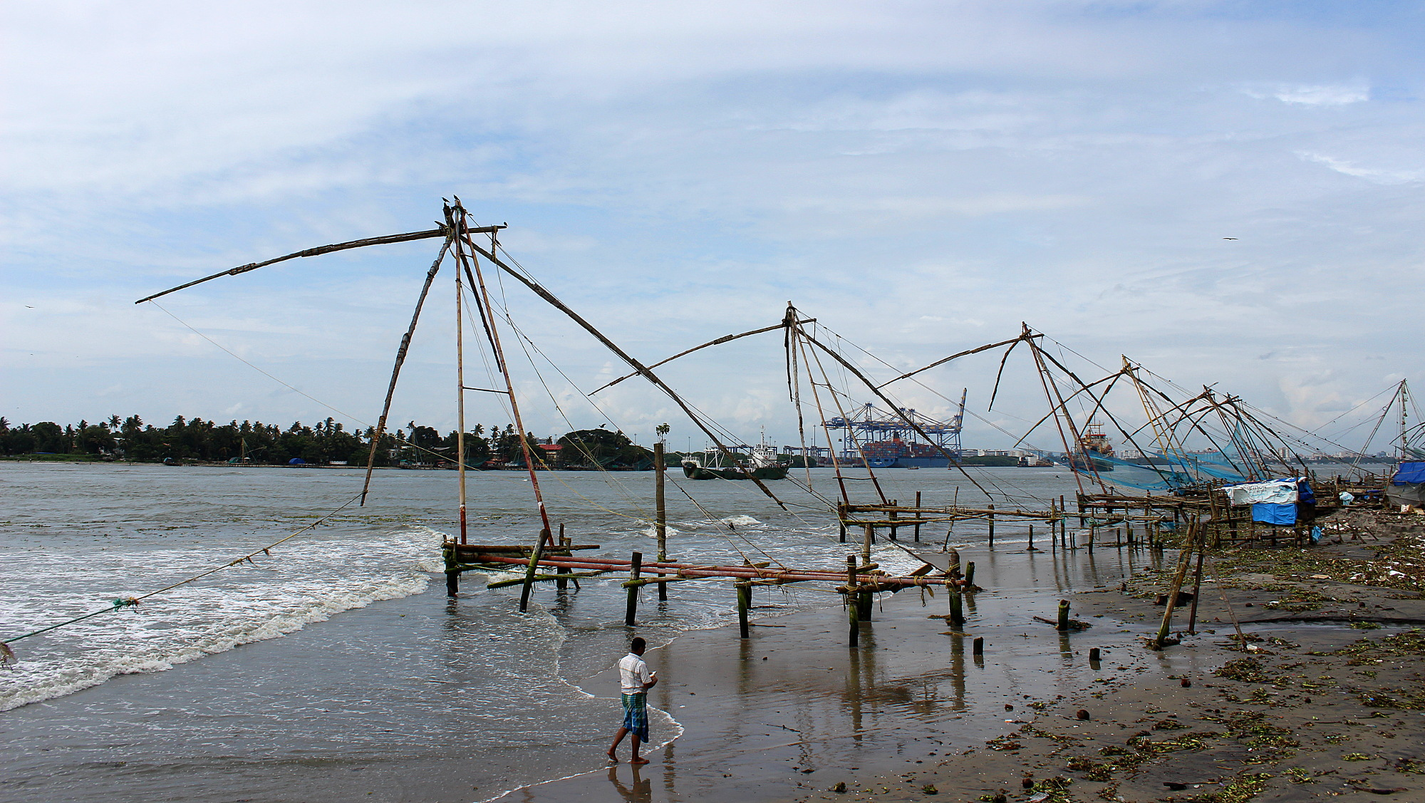 Traditional chinese fishing in Kochi with giant rods lined at the seaside.