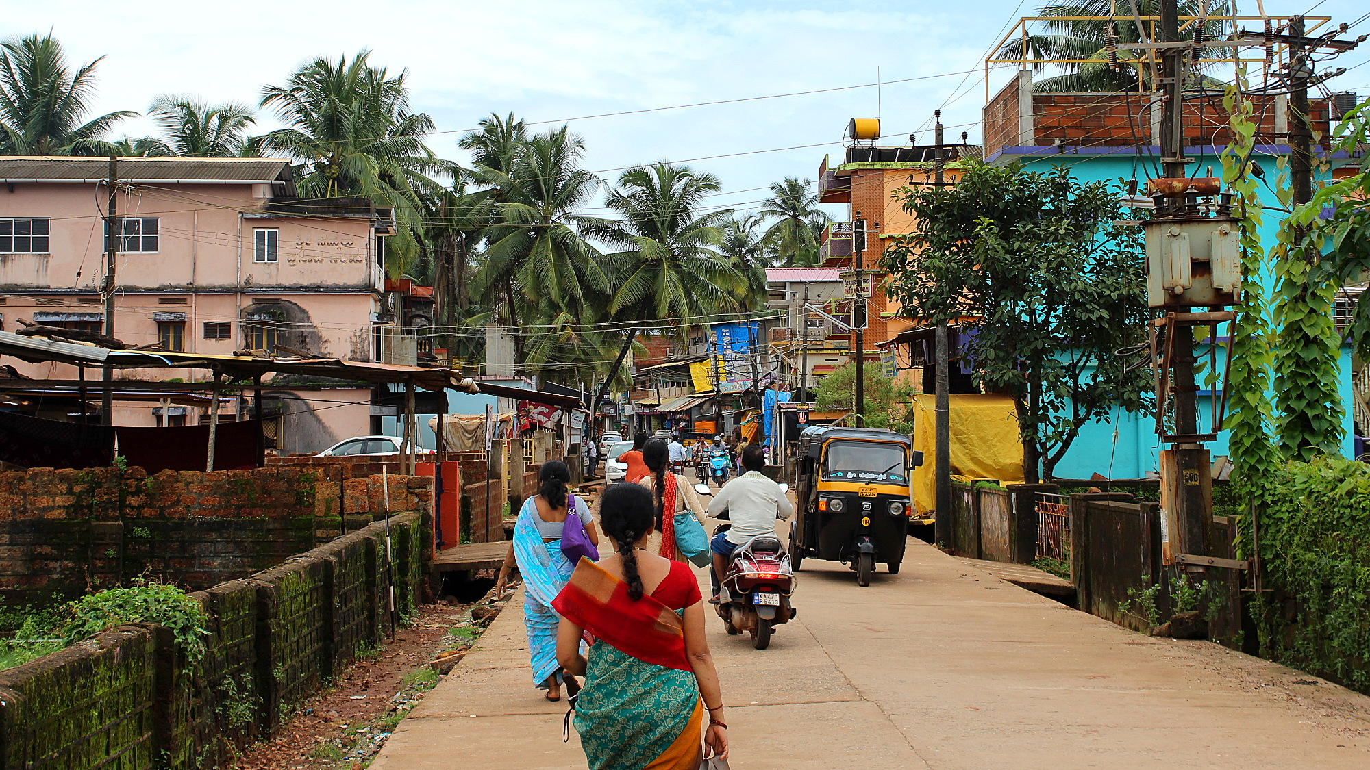 Locals walking in the town of Gokarna.