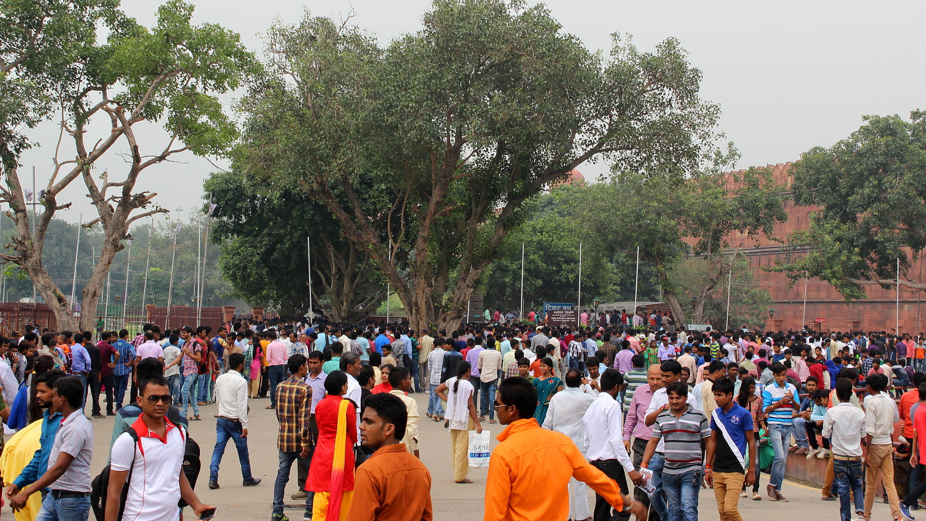 Indian crowd near Red Fort, Delhi.