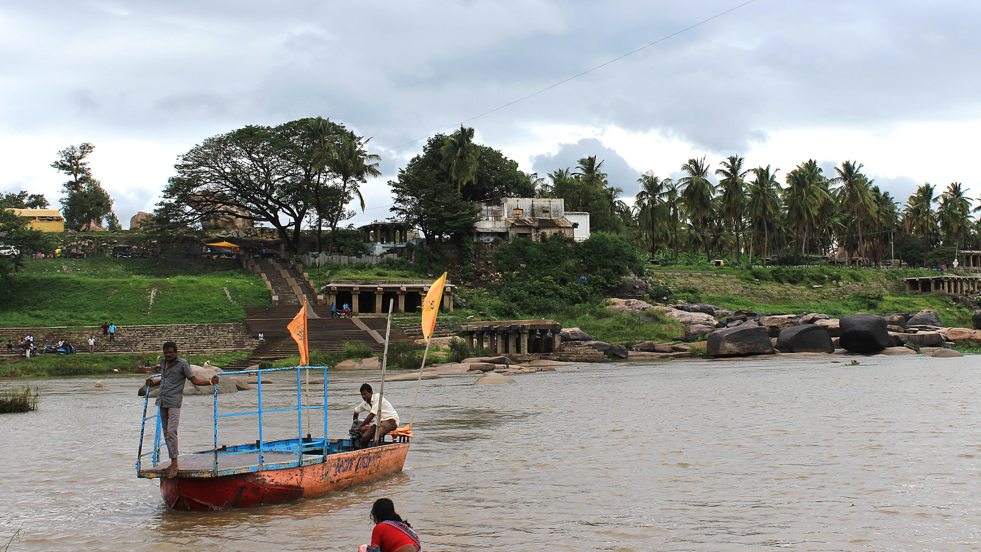 Crossing the Tungabadra River to Virupapur Gaddi on a ferry.