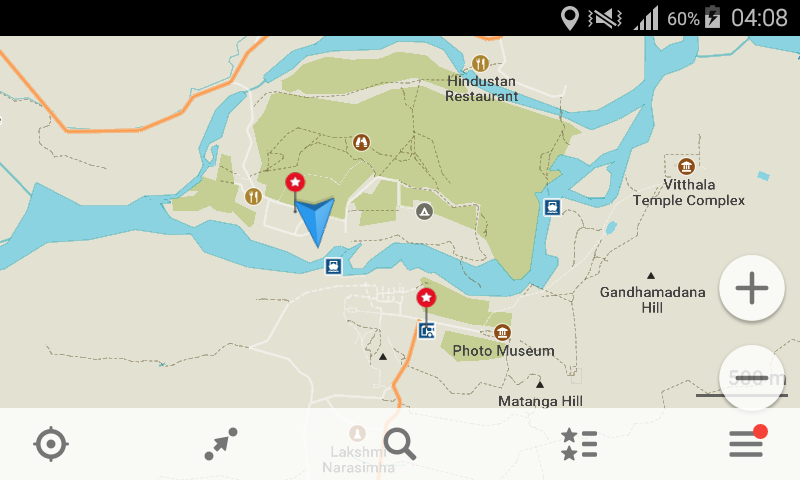 MAPS.ME is a useful Android app for long term travel. Screenshot of the GPS turned on in Hampi, India.