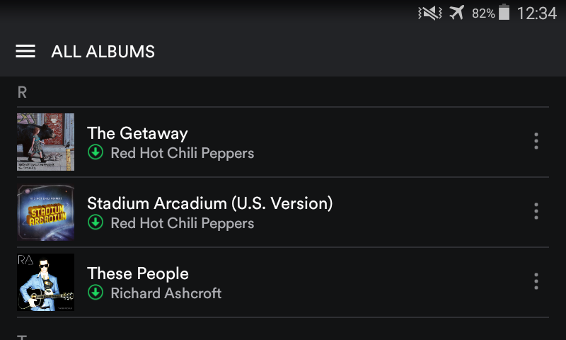 Downloaded Red Hot Chili Peppers and Richard Ashcroft offline albums for Spotify Premium.