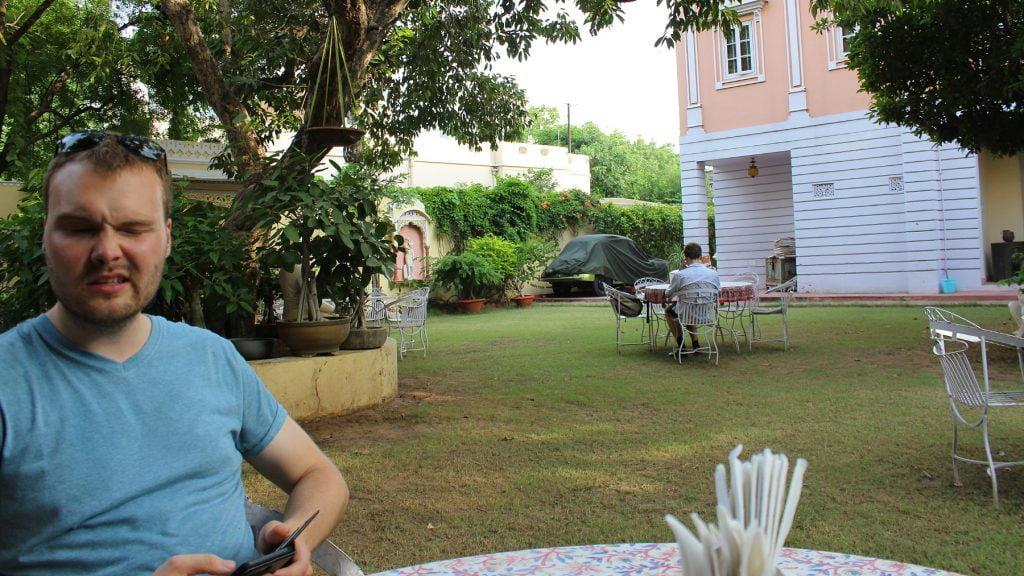 Finally getting a lunch in a garden restaurant in Jaipur.