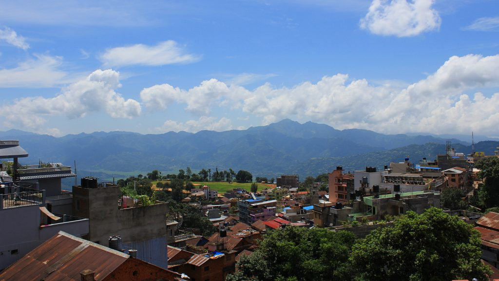 Rooftops of Tansen, Nepal from the roof terrace of a homestay.