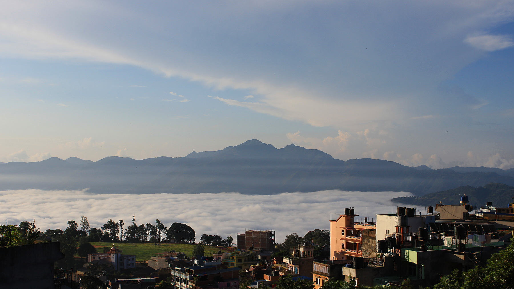 Sunrise from Tansen, Palpa. The valley below is covered with clouds, but the sky above is mostly clear. Tansen Nepal.