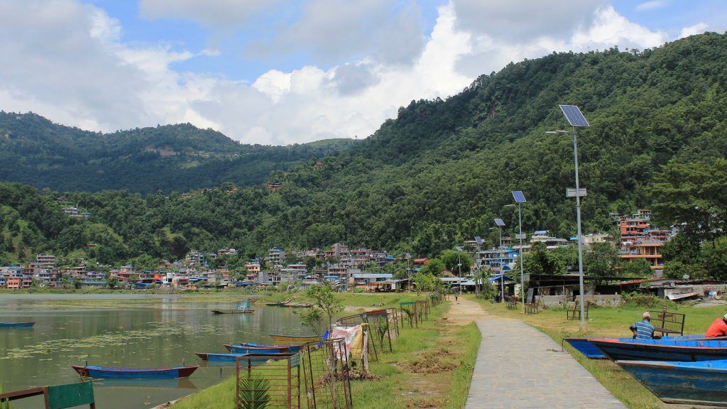 The walking route along the lake in Pokhara.
