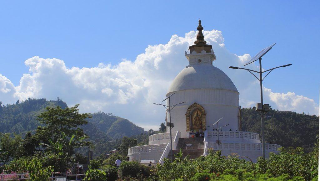 The World Peace Pagoda of Pokhara.