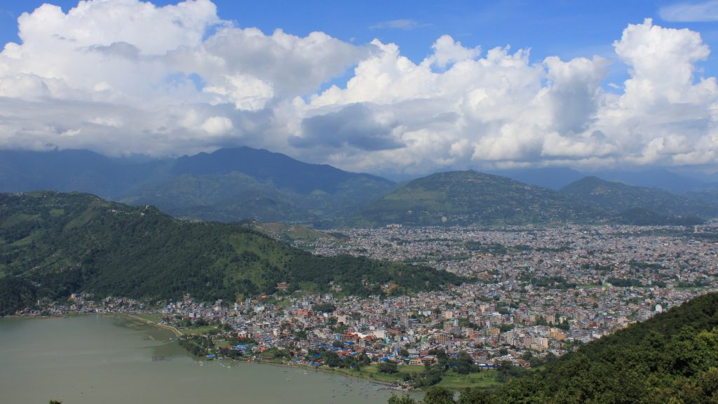 View down on Pokhara from the World Peace Pagoda.