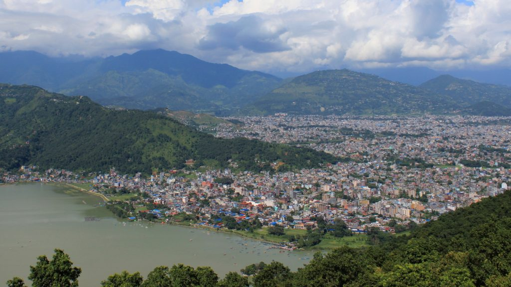 View down to Pokhara from the World Peace Pagoda in 2016. Pokhara after earthquake.