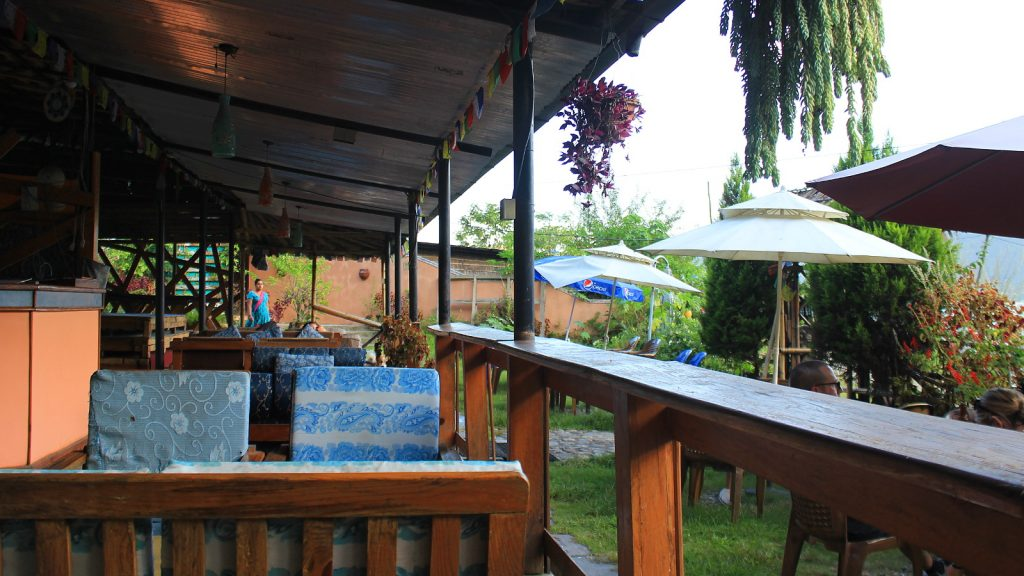 The terrace of Lotus Corner and Restaurant in Northern Lakeside of Pokhara.