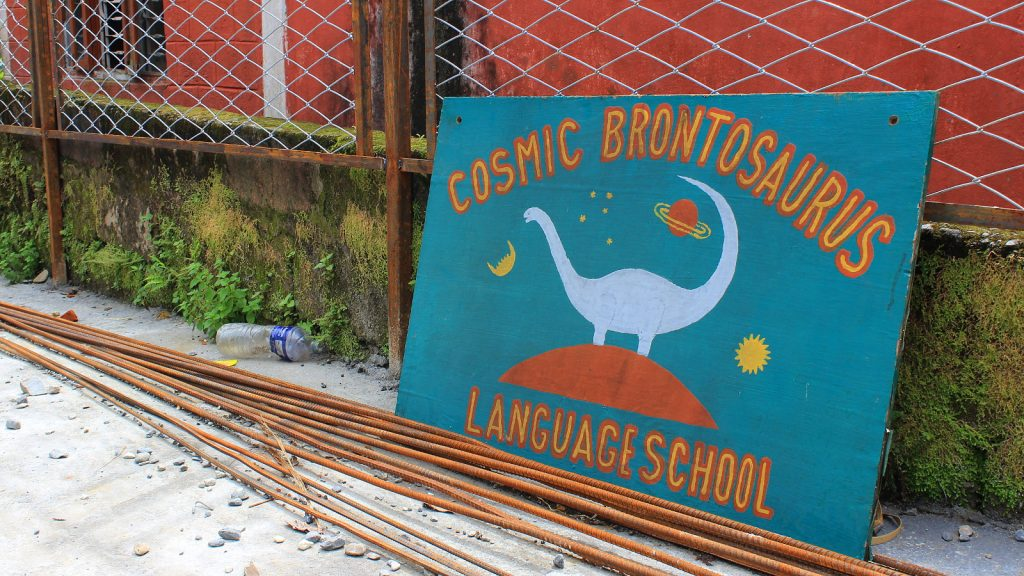 I studied Nepali at Cosmic Brontosaurus Language School in Pokhara.