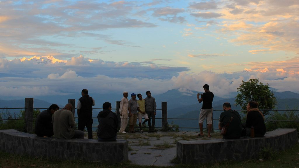 Spotting the mountains at sunset in Tundikhel, Nepal.