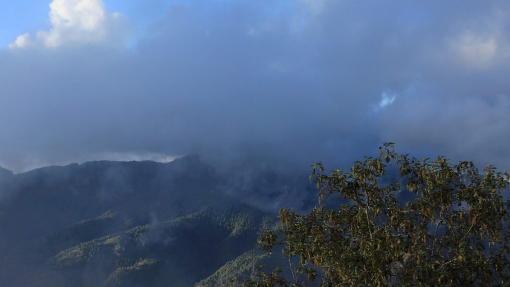 Weather in Daman, Nepal. Clouds covering the view of the montains.