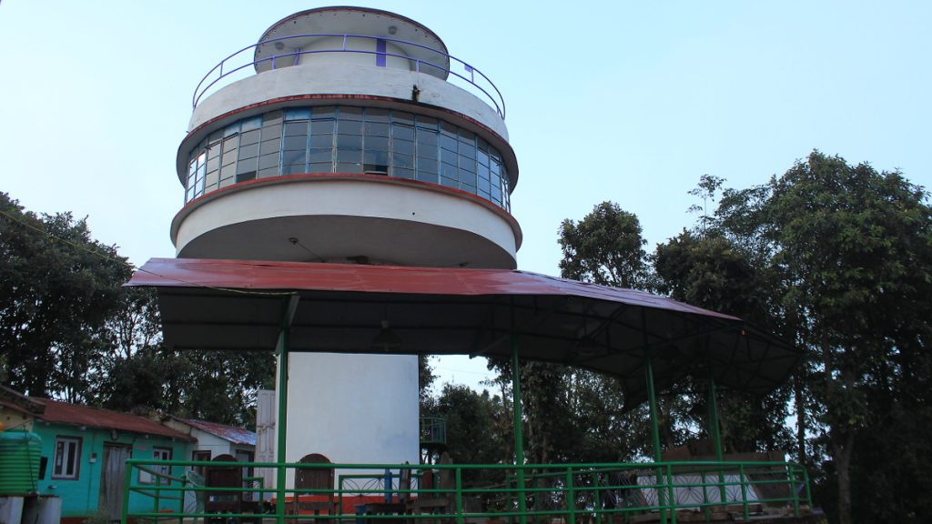 View tower and Daman resort. The viewtower of the hotel in Daman, Nepal, from outside.