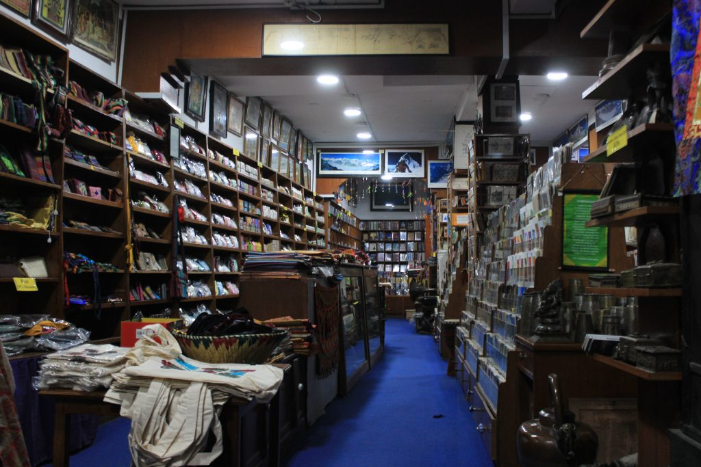 First floor of Pilgrim Book House bookstore in Thamel.