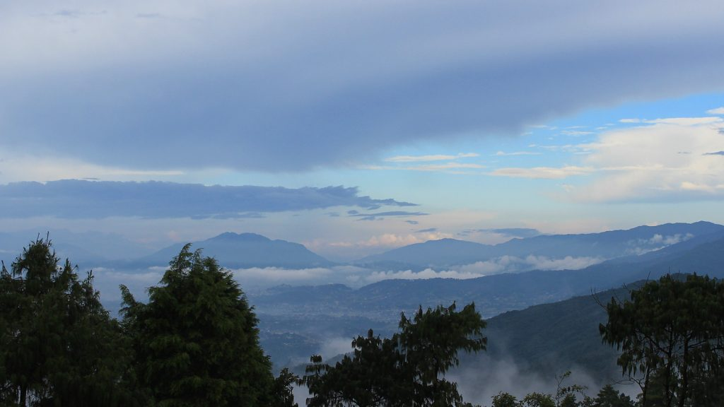 The Kathmandu valley sunset view from Hotel at the End of the Universe, Nagarkot.