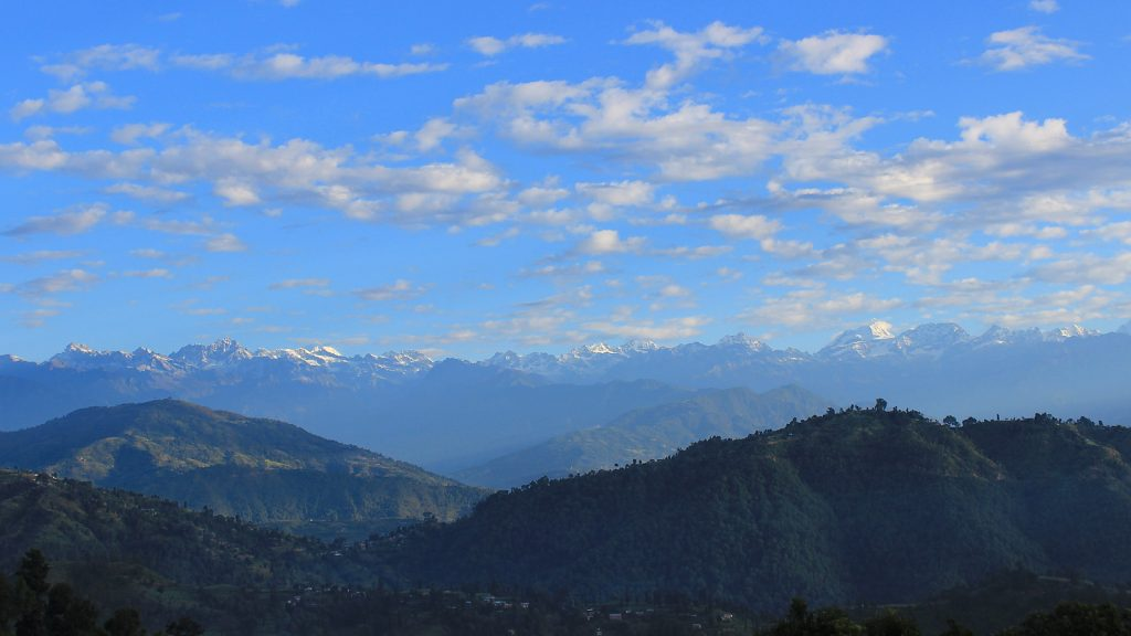 An outlook of the Himalayan range from a village between Nagarkot and Dhulikhel just after sunrise.