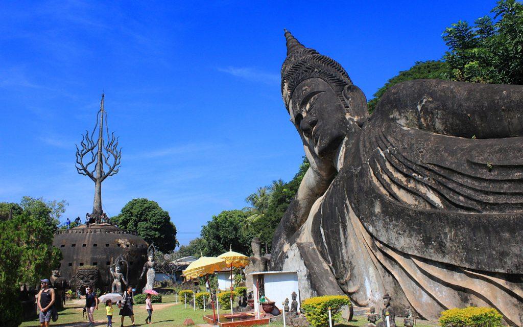 A reclining Buddha and giant pumpkin in Buddha Park (Xieng Khuan)