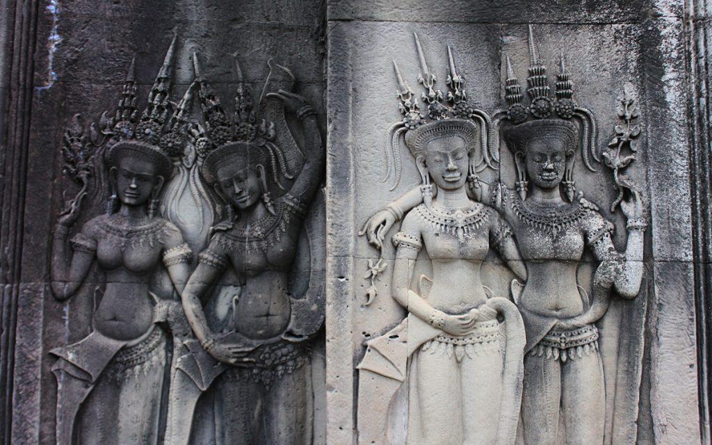 Wall carvings or devatas in Angkor Wat, Cambodia.