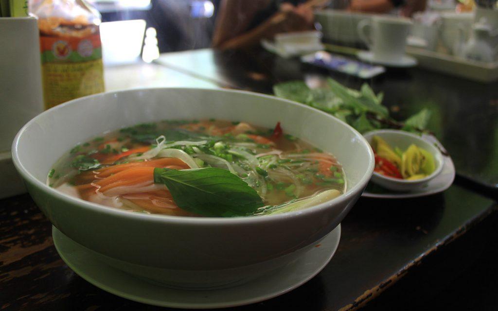 Vietnamese noodle soup Pho in a restaurant.