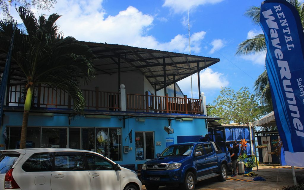 The Poni Divers building at Serasa Beach, Brunei.