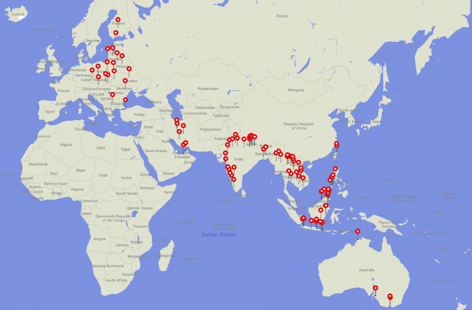 365 Days on the Road. My stops on the first year of a RTW trip.