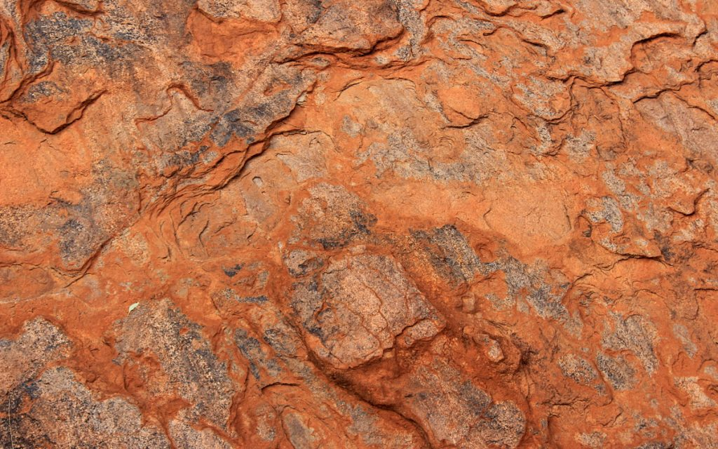 A close-up of the surface of Uluru.