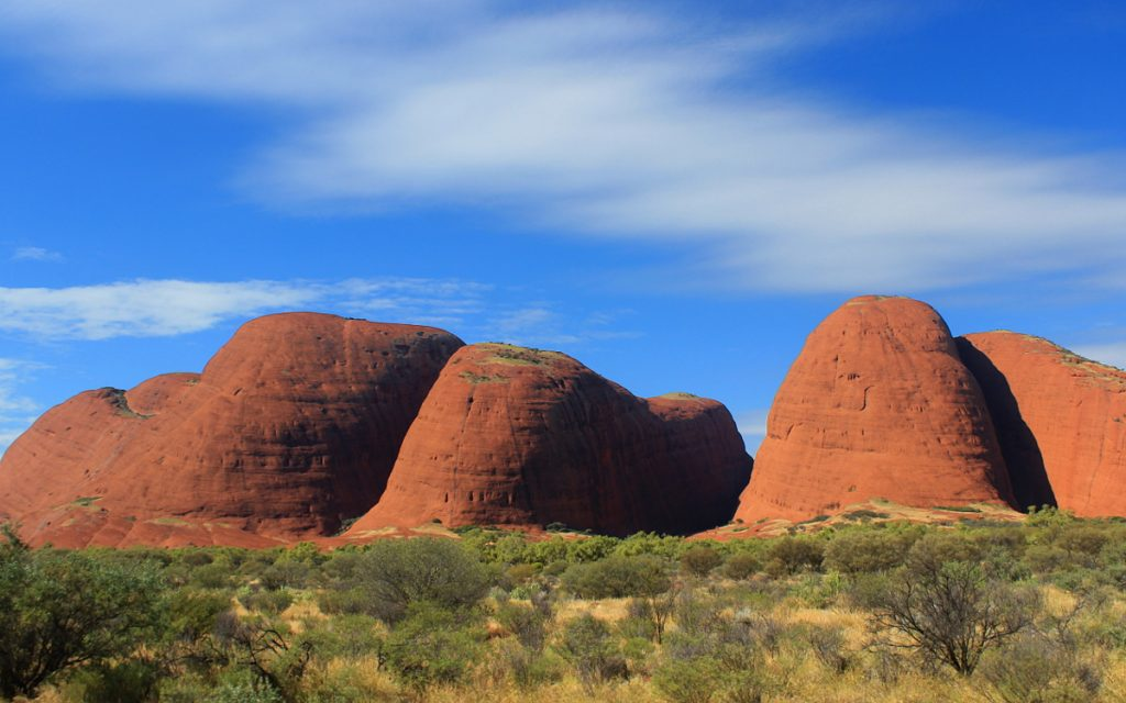 Kata Tjuta from a car.