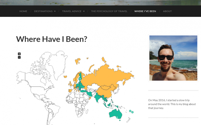 "Interactive ""Where Have I Been"" map for Arimo travels travel blog."