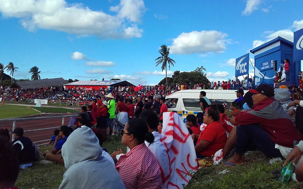 Audience in rugby stadium in Nuku'alofa.