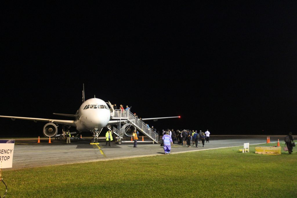 An Air New Zealand plane leaving Nuku'alofa airport in Tonga.