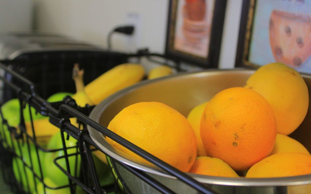 Oranges and other fruits in a jar at Gleanings for the Hungry dining hall.
