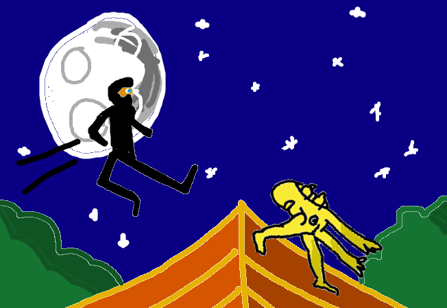 Badly drawn MS Paint ninja in the moonlight.
