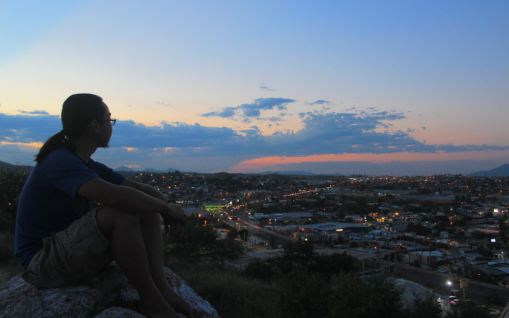 A sunset view from Nogales to the United States.