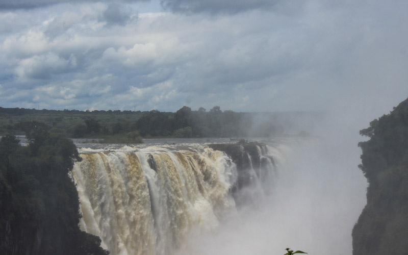 Victoria Falls during the rain season in February from ZImbabwean side.